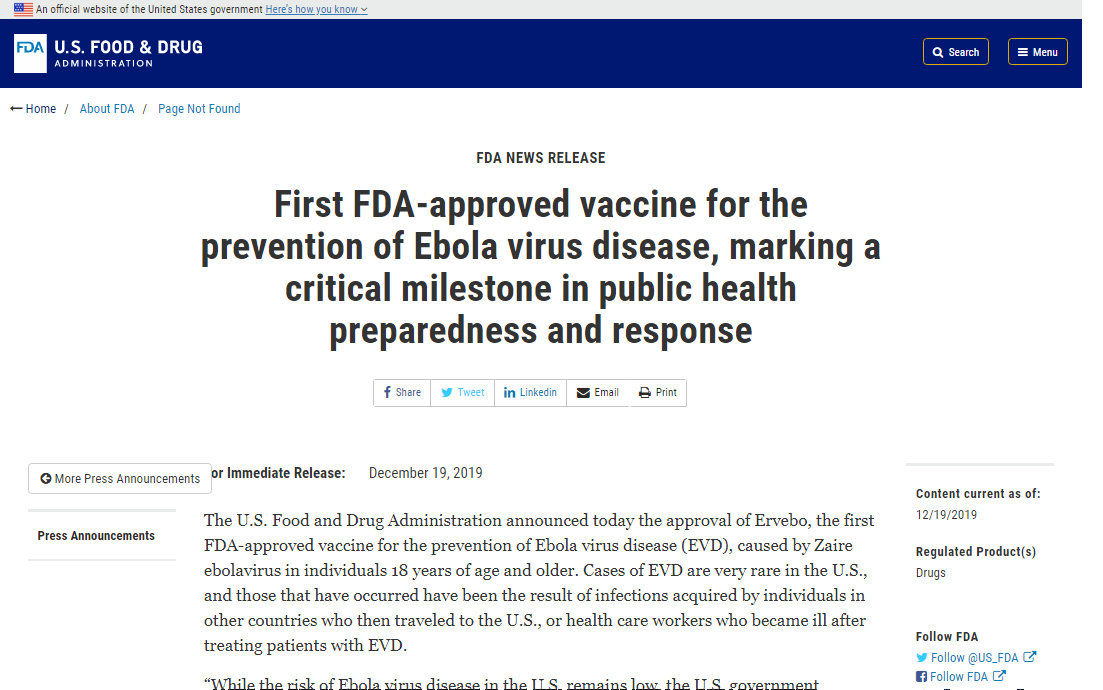 Ebola Virus Vaccine Approved For United States by FDA